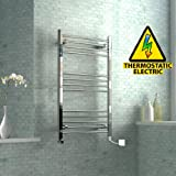 1000 x 600 mm Electric Curved Towel Rail Radiator Chrome Heated Ladder