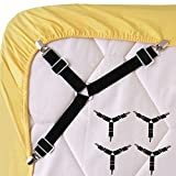 Wommty 4 Pieces Adjustable Bed Sheet Fasteners Triangle Elastic Suspenders Gripper Holder Straps Clip for Bed Sheets, Mattress Covers, Sofa Cushion and Chair Seats Cushion