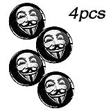 Skino 4 x Aufkleber 3D Gel Silikon Autoaufkleber Stickers Anonymous Felgenaufkleber Für Radkappen Nabenkappen Radnabendeckel Rad-Aufkleber Nabendeckel Auto Tuning Andere Größe A 43 (65mm)