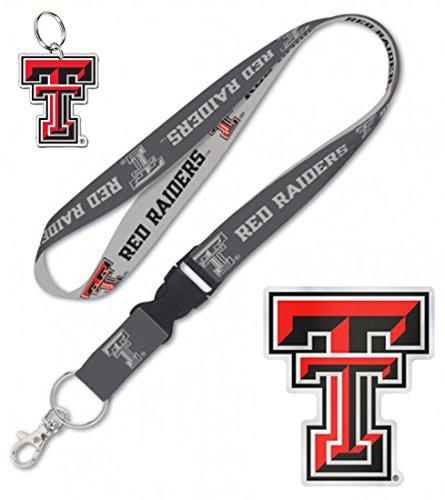Wincraft Snack-Schale Bundle 3Elemente: Texas Tech Rot Raiders 1Schlüsselband, 1Auto-Badge Aufkleber, und 1Schlüssel Ring (Tech-elemente)