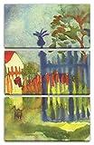 Printed Paintings Leinwand 3-teilig(80x120cm): August Macke - Gartentor