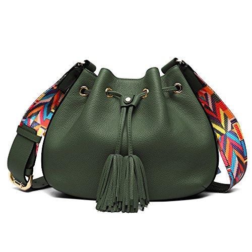 BRANCHEAU YEUNG Frauen-Beuteltasche, Rindsleder-echtes Leder-Taschen-Retro Geldbeutel-Armee-Grün-Handtasche Lichee Muster-Frauen-breites Bügel-Schulterbeutel-Zugschnur mit Quaste -