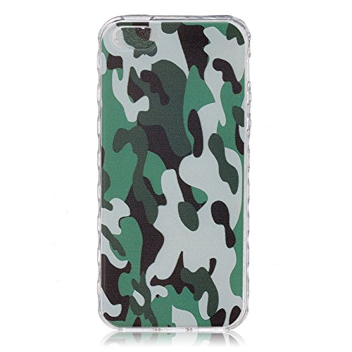 iPhone SE 5 5S Coque (2016 Model)-Linvei TPU Silicon Gel Housse Transparent Case Étui Case Cover for iPhone SE 5 5s Camouflage