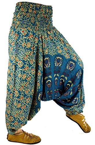 GURU-SHOP Pantalones Afganos, Pantalones de Harén, Pantalones de Harén, Bombachos, Pantalones de Aladino, Gasolina, Viscosa, Tamaño:38, Bloomers y Harén
