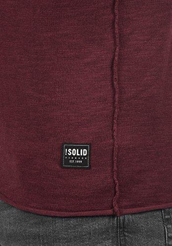 SOLID Krimmich Herren Strickpullover Feinstrick Pulli mit Rundhals-Ausschnitt aus 100% Baumwolle Wine Red (0985)