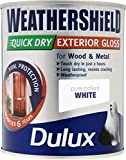 750ml Dulux Weathershield secado rápido exterior Gloss puro brillante Blanco