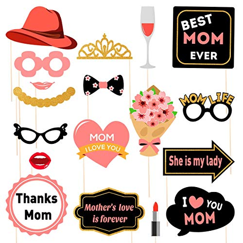Amosfun Muttertag Foto Booth Props Mutter Birtday Foto Booth Props Ich Liebe Dich Beste Mutter Muttertag 2019 Party Dekoration begünstigt 18 Stück