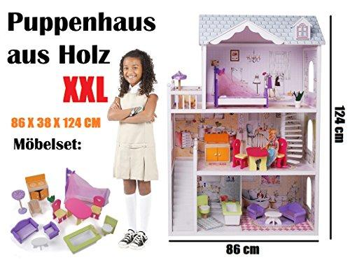 XXL Holz Puppenhaus Barbiehaus Puppenstube Set mit Möbeln 3 Etagen 4108