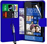 N4U Online PU Leather Wallet Case Cover,Film & Retractable Stylus For Htc Windows Phone 8S - Blue