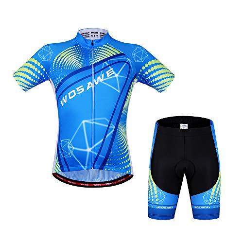 ZMMHW Sommer Radfahren Sets Kurzarm Trikots + 4D Gel gepolsterte Shorts Anzug atmungsaktiv schnell trocknend MTB Rennrad Fahrradbekleidung,M