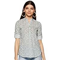 Styleville.in Women's semi formal Multicolor printed shirt with roll sleeve (STSF401642-Multicolor-M)