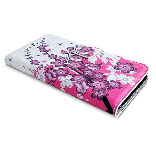 Apple iPhone 6 / 6s Handyhülle inklusive Displayfolie Eulen auf Ast Ast mit pinken Blumen