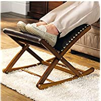 Rocking Footstool Solid Wood Adjustable Foot Rest Mahogany One Size