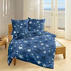 Bierbaum Biber Bettwäsche blau Sterne 80x80+135x200cm