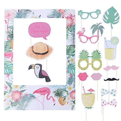 BESTOYARD Hawaiian Tropical Photo Frame Photo Booth Set Flamingo Pineapple Photo Booth Props Hawaii Luau Party Supplies(16pcs ) (Frame-prop Booth Photo)