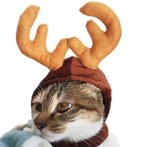 Fenverk 1Pc Weihnachten KostüM Haustier Katze Hund Geweih Hut Deckel Kleider Rentier HöRner Kopfbedeckung HüNdchen KäTzchen Stirnband Halsband Süß Cosplay Ankleiden VorräTe