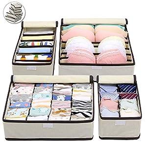 4 Stück Aufbewahrungsboxen Mit Deckel Unterwäsche Organizer für Faltbare Schubladen Organizer zum Aufbewahren von Socken, Schals, Büstenhalter (5 Stück)