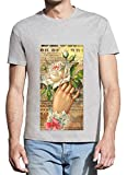 Hand with Flowers Romantic Painting Homme Grey T-Shirt - X-Large