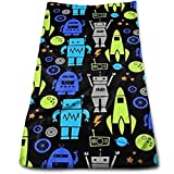 DAICHAI Toalla Rockets Robots Towels Multi-Purpose Microfiber Soft Fast Drying Travel Gym Home Hotel Office Washcloths