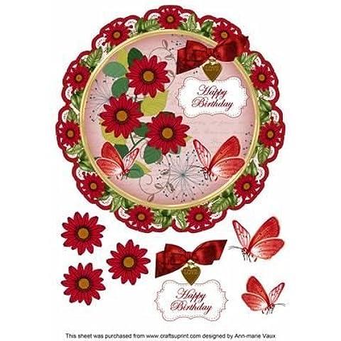 Daisy, 20 cm, colore: rosso, con scritta