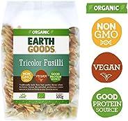 Earth Goods Organic Tricolor Fusilli, NON-GMO, Vegan, Good Protein Source, 500 gm