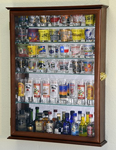 Large Mirror Backed and 7 Glass Shelves Shot Glasses Display Case Holder Cabinet , Walnut by