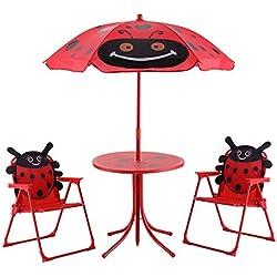 Blitzzauber24 Ensemble 2 Chaises et 1 Table pour enfant avec parasol ajustable camping extérieur terrasse balcon Rouge