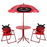 GOPLUS Set Tavolo e Due Sedie Pieghevoli da Giardino per Bambini con Ombrellone a Modello di Coleottero