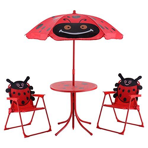 DREAMADE Kinder Sitzgruppe Garten, Kindergartengarnitur mit Sonnenschirm, klappbarer Tisch und Sthul Set, Kindermöbel Gartenmöbel, Spieltisch Gartentisch mit 2 Stühlen für Kinder, Rot