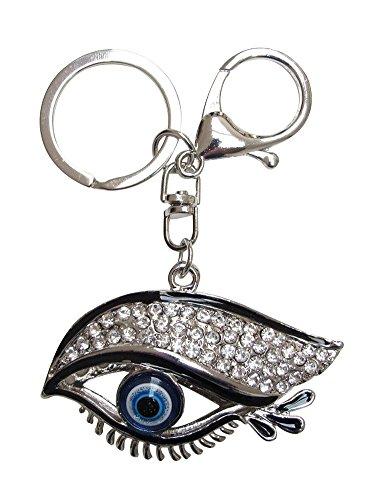 Unbekannt Générique Schlüsselanhänger, Taschenschmuck, Motiv Paupez und Auge, Schwarz und Strass, Silberfarben