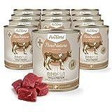 AniForte Hundefutter Rind Pur 12 x 800g für Hunde, Nassfutter ohne künstliche Vitamine oder Chemie, Barf Futter