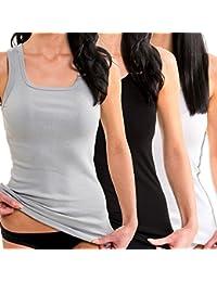 HERMKO 1325 Kit de tres camisas interiores para mujer de diferentes colores, hechas de algodón