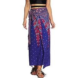 Nuofengkudu Mujer Falda Larga Hippie Gitana Amarra la Cintura Alta Boho Patrón De Estilo Tailandés Faldas de Playa Fiesta Casual Skirts Morado Pavo