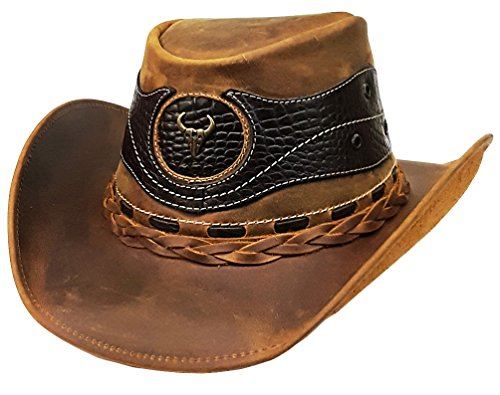 Modestone Weathered Antiqued Leather Chapeaux Cowboy Crocodile Skin Pattern  Applique a32d8648dd77