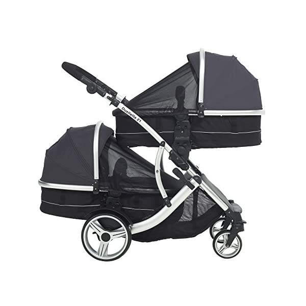 Kids Kargo Duellette Combi Suitable from Newborn. Carrycot Converts to Seat Unit. Dooglebug Silver Kids Kargo Demo video please see link https://www.youtube.com/watch?v=X_tEcnQ8O8E%20 Suitability Newborn - 15kg (approx 3 yrs). Carrycot converts to seat unit incl mattress Carrycot & car seats fit in top or bottom position. Compatible car seats; Kidz Kargo 0+, Britax Babysafe 0+ (no adapters needed) or Maxi Cosi adaptors 8