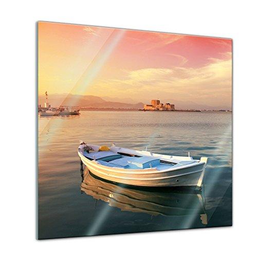 Glasbild - Traditionelles griechisches Fischerboot - 20 x 20 cm - Deko Glas - Wandbild aus Glas - Bild auf Glas - Moderne Glasbilder - Glasfoto - Echtglas - kein Acryl - Handmade