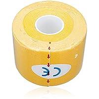 Sonline 1 rollo de Deportes Kinesiologia Musculos Cuidado Gimnasio Atletico Cinta Salud 5M * 5cm - Amarillo