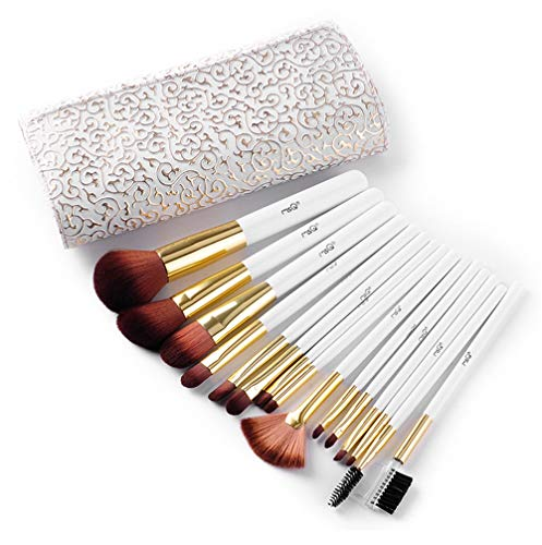 HWQ Make-up Brush, 15 Pcs Professional Foundation Foundation Brushset, Tasche + Pinsel, römischer Style Set of Makeup Tools, Faserhaar + Dicke Aluminiumröhre (Römisch Make Up)