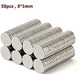 tinxi® 50 piezas imanes de neodimio fuerte N42 8 x 1 mm discos redondos imanes superpoder Mini Imanes Imanes para el hogar