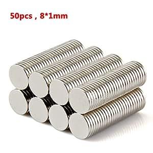tinxi® 50 pz N52 magneti al neodimio magnete calamita super forte da parete 8 x 1 mm Magneti