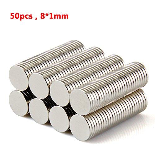 tinxi® 50pc N42 Neodym Magnet Magnete Tafeln Kühlschrank DIY Werkzeug superstarken Wand Ø 8 x 1 mm Magnete