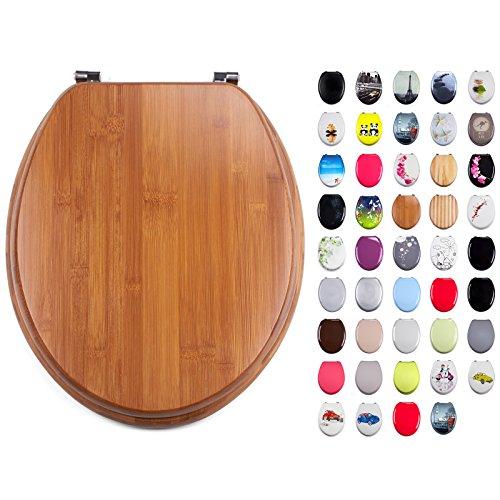 MSV WC Sitz Toilettendeckel Bambus Bamboo Scharniere aus Edelstahl - hochwertige und stabile Qualität