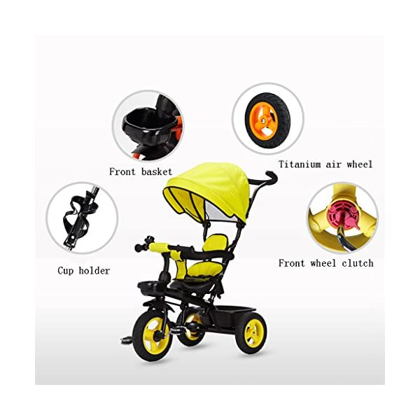 Detachable Rotating Seat Reclining Backrest Kids Children Trike Tricycle Wning Suitable for 6 Months -5 Years Old Kids (Color : Yellow) DUOER-Pushchairs Features assembled canopies without worrying about rain and sunshine,Safety features and safety belts are provided for safety. The pedal can be folded for more convenient use: the pedal can be folded to make travel more convenient. Upgrade the thickened sponge pillow to protect the baby's head and make the baby ride safer. 6