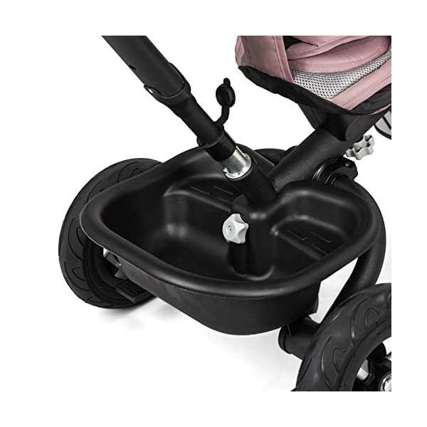 Kinderkraft Aveo Black and White Tricycle  Multifunctional Dreirädriges Aveo Bicycle Ride On A revolving seat with which the baby can face forwards and backwards. It is fitted with a large roof with a window for parents to protect the child both sun and rain. It has a basket with a contoured for the legs, plus a small basket for the transportation of your favourite pet toys. Features: Suitable for children from 1 to 5 years after penetration fixed rubber wheels swivel seat, Inverse or forward facing option folding function Rear brake parents 3 point safety harness for extra security barrier smooth the height of the handle for the parent unit high, broad, airy back rest platform pedals in the front wheel block 4