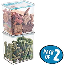 mDesign Caja para almacenamiento de alimento de mascotas, con tapa; para alimento, premios, suministros para perros - paquete de 2; 3 cuartos de galón - Claro