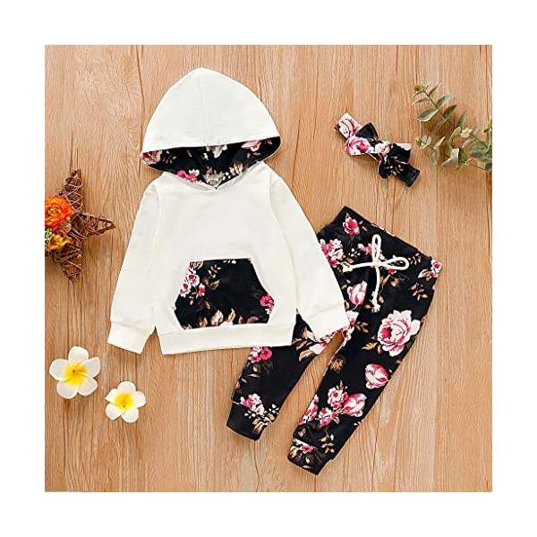 Vectry Ropa para Disfraz Conjunto Infantil Bebé Niñas Sudadera con Capucha Y Impresión Floral Camiseta Tops + Pantalones… 2