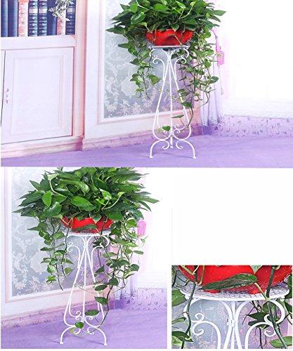 Pot à fleurs en fer européen Plante d'étagères Stand Salon Chambre Balcon Fleur Rack (couleur : Blanc, taille : 27 * 32 * 75cm)