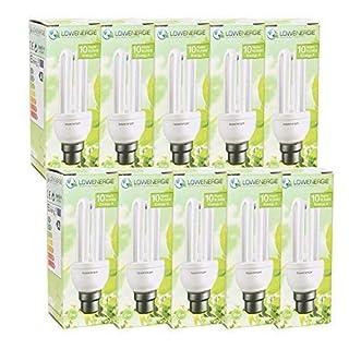 10 Pack - 8W (=40W) WW Energy Saving CFL Light Bulbs, B22 B22d BC Bayonet Cap, Stick, 10 Years by Lowenergie