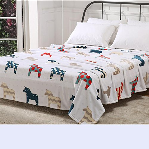Rollsnownow Helle Farbe Pferd Muster Decke Verdickung Warm Nickerchen Decke Winter Student Dormitory Bettwäsche Quilts ( größe : 150*200cm )