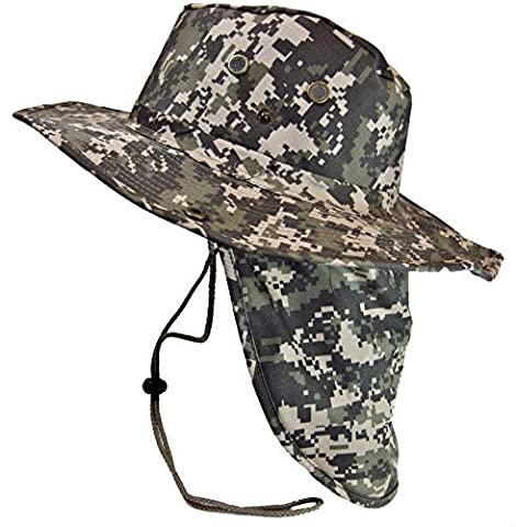 Boonie Bush Safari Outdoor Fishing Hiking Hunting Boating Snap Brim Hat Sun Cap with Neck Flap (Digital Camo, L) by S And W